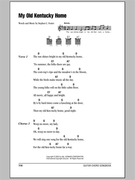my kentucky home by stephen foster guitar chords