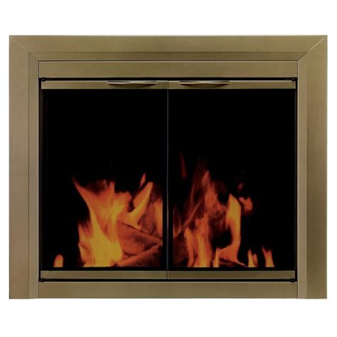 Shop Pleasant Hearth Cahill Antique Brass Small Cabinet Pleasant Hearth Fireplace Glass Doors