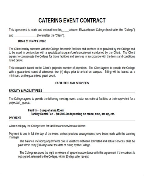 event contract templates catering contract template