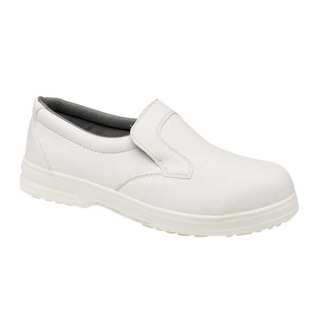 catering white slip on safety work shoes charnwood