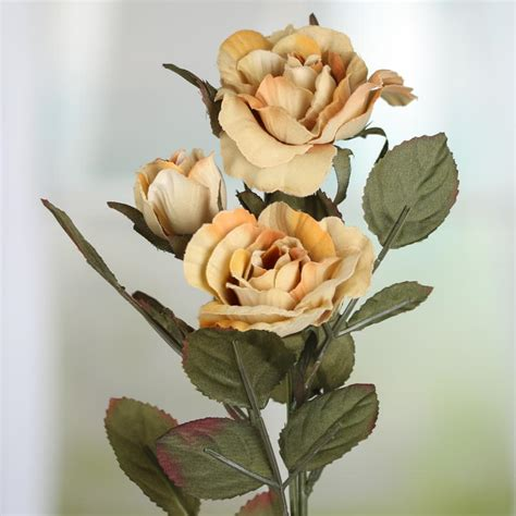 Soft Orange And Muted Green Artificial Rose Spray Floral | soft orange and muted green artificial rose spray picks