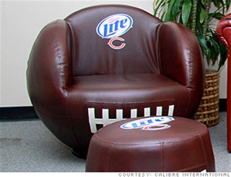 bud light leather chair football shaped chair cool gear for your bowl