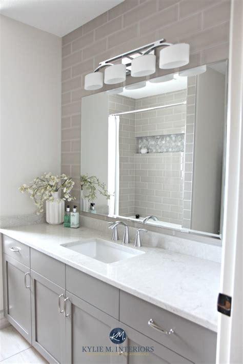 Bathroom update, Bianco Drift quartz countertop, Benjamin