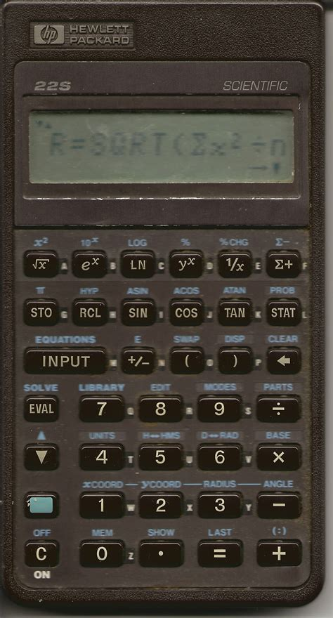 calculator history file hewlett packard calculator front hp 22s bought in
