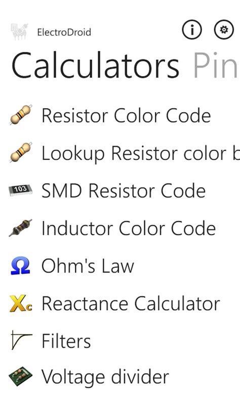 inductor color code converter electrodroid pro free windows phone app market