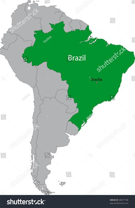 neighboring countries of brazil location brazil on south america continent stock vector
