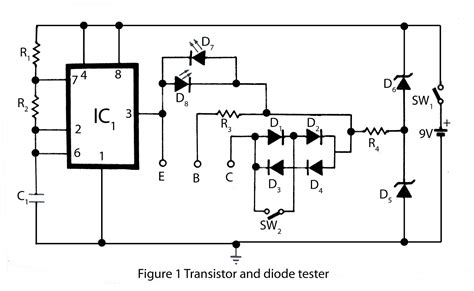 use of diodes in a circuit transistor and diode tester electronics project