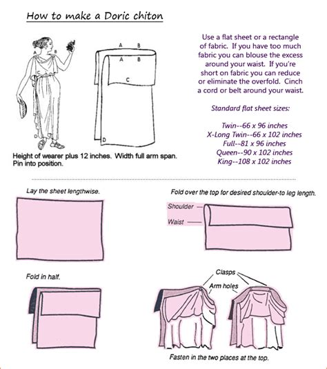how to make a toga out of a bed sheet doric chiton patterns tutorials ancient 1500