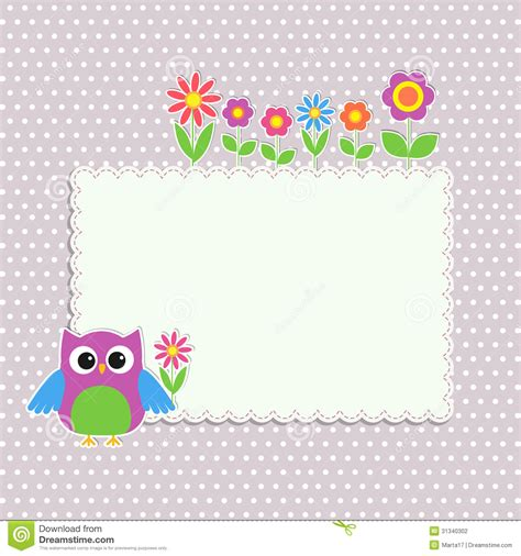 Frame With Cute Owl Stock Vector Image Of Beautiful