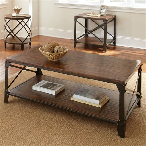 Hayneedle Coffee Table To It Steve Silver Winston Rectangle Distressed Tobacco Wood And Metal Coffee Table