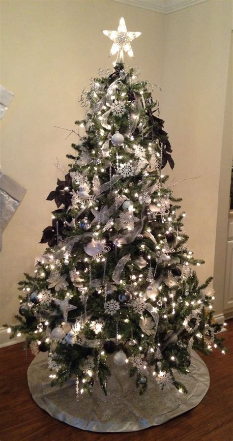 white silver and black christmas tree blue spruce
