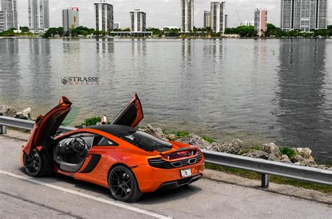 orange mclaren 12c stunning volcano orange mclaren 12c on strasse wheels
