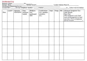 Autoclave Log Template by Maryland Mighty Tooth