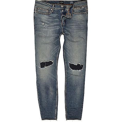 J006 Ripped Denim Washed Fade Blue faded blue wash ripped sid