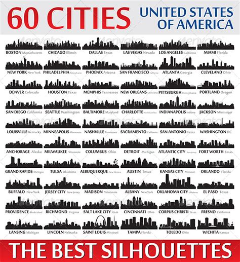 silhouettes set o 60 usa cities by yurkaimmortal