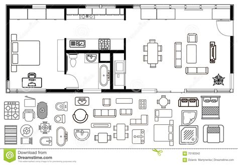 6 Bedroom Modular Home Floor Plans by Architecture Plan With Furniture In Top View Stock Vector
