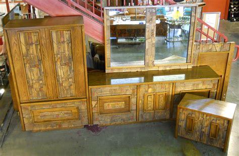 lane brutalist bedroom set retro vegas storage furniture sold