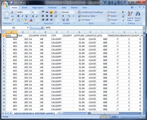 us area code spreadsheet american area code database premium