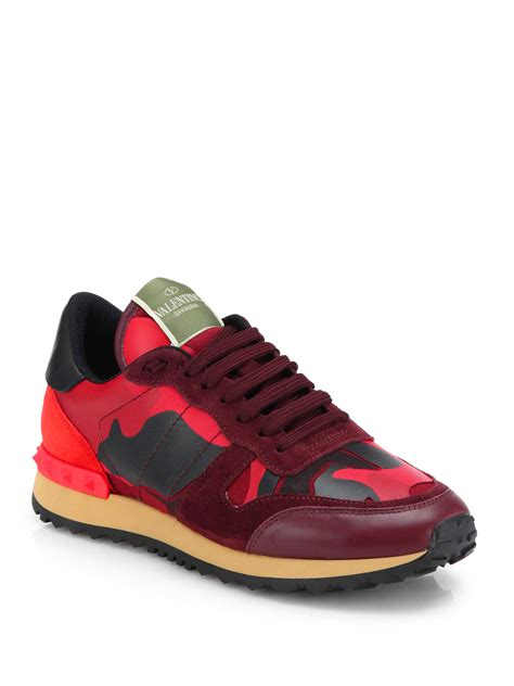 s valentino sneakers lyst valentino camouflage leather suede sneakers in
