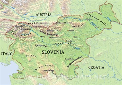 in slovenia slovenia physical map