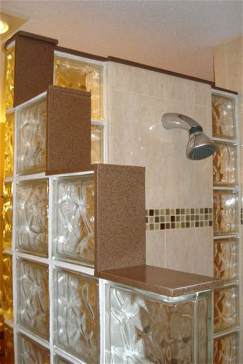 Glass Block Bathroom Ideas Glass Brick Shower Designs Barrier Free Tiled Shower With Glass Mosaic Listello And Glass