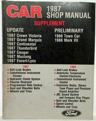 1987 Ford Car Shop Manual Supplement Crown Vic T Bird