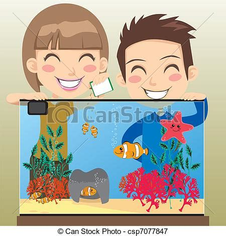 vectors illustration of happy kids aquarium boy and girl