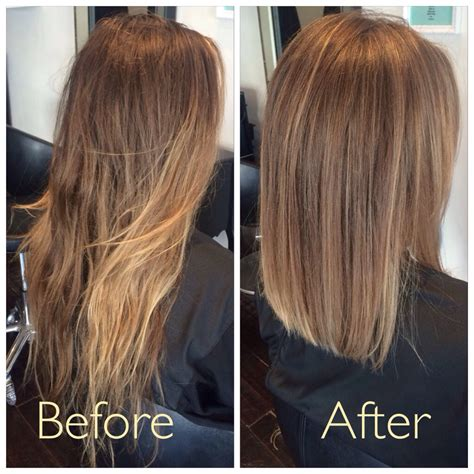 hairstyles after ombre before and after soft creamy ombre with a blunt lob