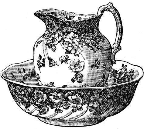 vintage clipart antique clip art classic pitcher and bowl the graphics