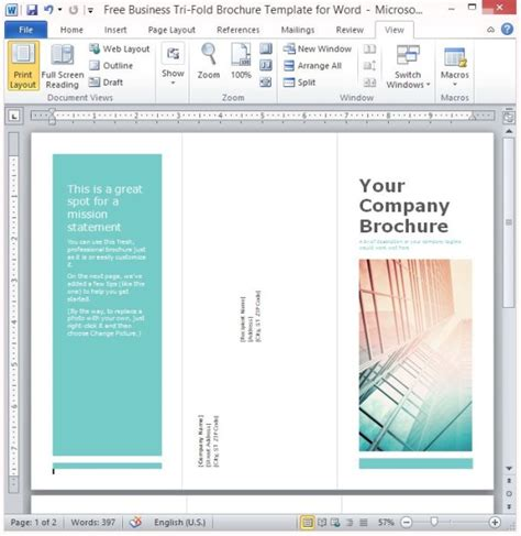 Free Business Tri Fold Brochure Template For Word Powerpoint Brochure Template