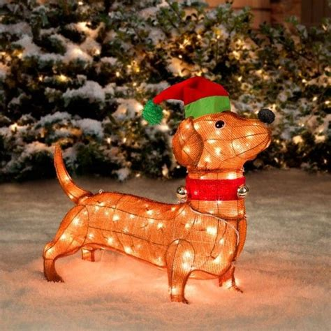pre lit tinsel dog pre lit tinsel dachshund this lovable and soft pre lit tinsel dachshund can quot stay quot indoors or