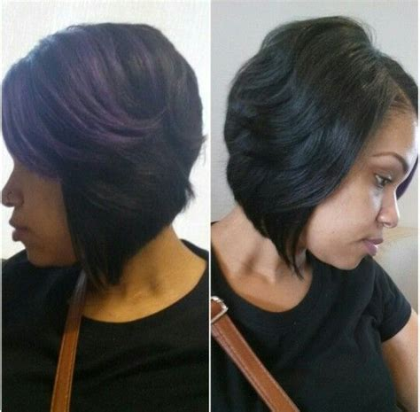 back view of layered bob of african american hair asymmetrical bob with a purple highlight short hair