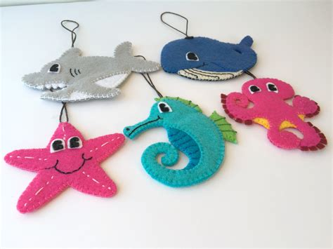 felt toddler friendly christmas ornaments set of 5 sea