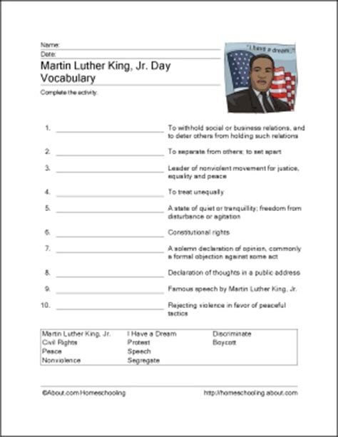 martin luther king printable activity sheets free martin luther king worksheets learning can be fun