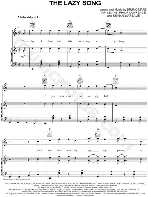 ukulele tutorial lazy song bruno mars quot the lazy song quot sheet music in c major