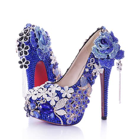 royal blue flower shoes wedding shoes bridesmaid pumps rhinestone heels