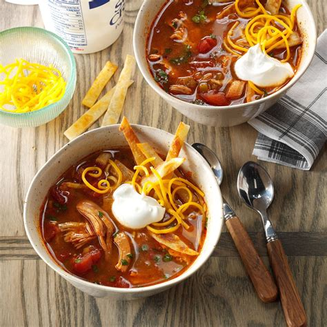 cooked chicken enchilada soup recipe taste of home