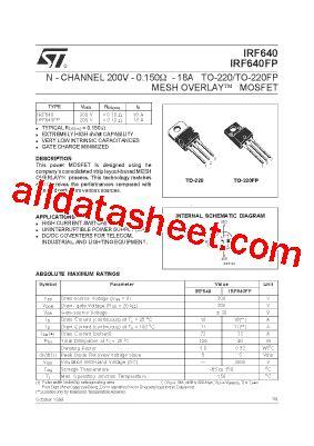 transistor irf 640 irf640 datasheet pdf stmicroelectronics