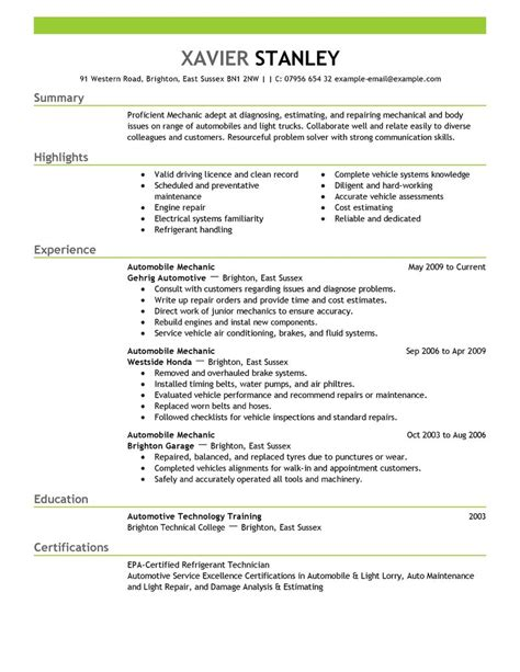 Mechanic Resume by Eye Grabbing Mechanic Resumes Sles Livecareer