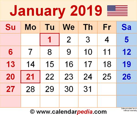 january 2019 calendar january 2019 calendars for word excel pdf