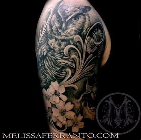 owl viking tattoo owl and flowers tattoo by melissa ferranto tattoonow