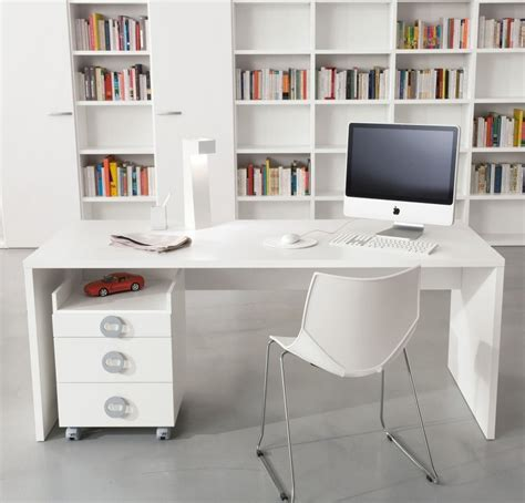 Built In Computer Desk Ideas Magnificent White Accent Built In Book Shelf Cabinets Added Modern White Computer Desk Also