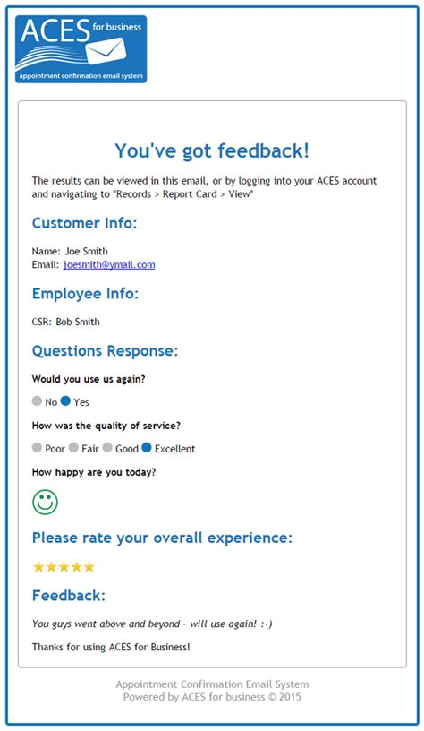customer report card template appointment confirmation email aces for business