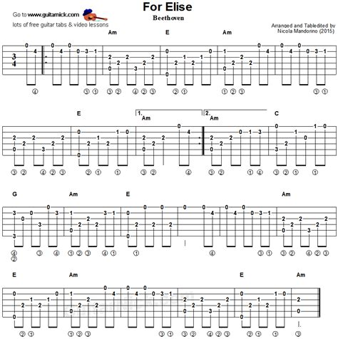 fingerstyle tutorial for beginners for elise fingerstyle guitar tablature guitar tabs
