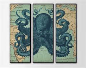 nautical map octopus triptych set of 3 large prints