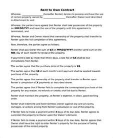 Rent To Own Agreement Template by Rent To Own Home Contract 6 Exles In Word Pdf