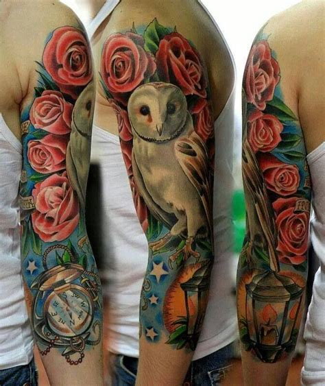 awesome owl roses and watch tattoo art tattoos and