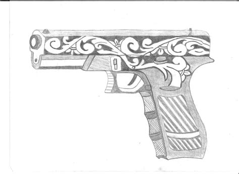 9mm Drawing by Pin 9mm Gun Sketch On