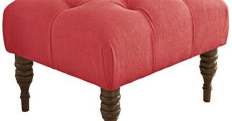 coral tufted ottoman isabelle hand tufted coral linen ottoman ls plus also