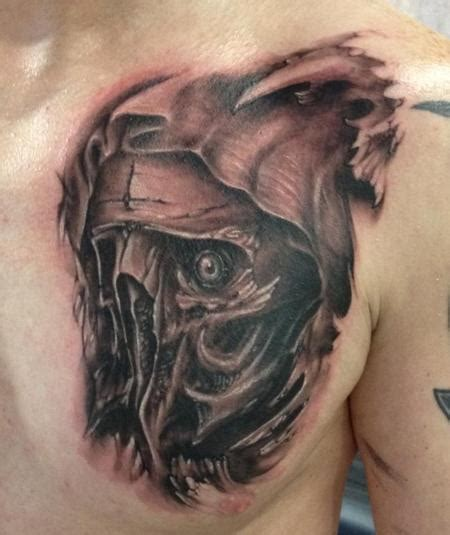 black and grey face tattoo amazing grey ink hands on evil skull tattoo on chest and